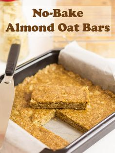 Crammed full of healthy wholegrain oats, almonds, almond butter and honey. These simple healthy easy no-bake almond oat bars are a guaranteed energy boost just when you need it most. Watch the recipe video to see how to make them! Healthy Bars, Easy Healthy Recipes, Gourmet Recipes, Healthy Snacks, Dessert Recipes, Microwave Recipes, Healthier Desserts, Protein Snacks, Protein Bars