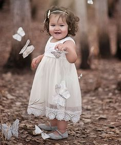 Look at this Just Couture Ivory Pastels Chiffon Lace Dress - Kids on #zulily today!