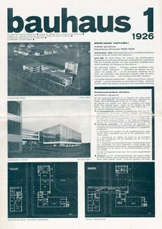 Bauhaus 1, 1926. Presenting the new architecture of Dessau. Editorial Board: Walter Gropius and Moholy-Nagy.