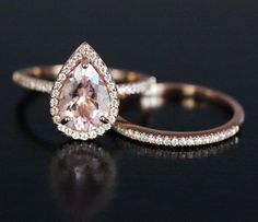Pink Morganite Engagement Ring Pear Morganite Ring and Diamond Wedding Band Set in 14k Rose Gold with Morganite 10x7mm Pear