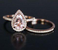 Pink Morganite Engagement Ring Pear Morganite Ring and Diamond Wedding Band Set in 14k Rose Gold with Morganite 10x7mm Pear