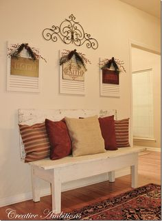 Beautiful, creative idea on what to do with shutters. Great for Christmas time!