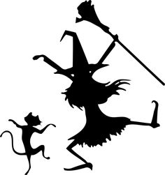 Halloween Dancing Witch and Cat Silhouette, Template, stencil, sjabloon.