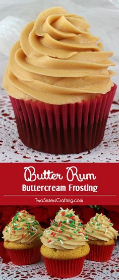 Our Butter Rum Buttercream Frosting is the perfect frosting for cupcakes or cakes. It is super delicious and so easy to make. Creamy, buttery with just a hint of rum extract, it tastes just like a butter rum hard candy. Your family will beg you to make th Canned Frosting, Homemade Frosting, Cupcake Frosting, Frosting Recipes, Buttercream Frosting, Cupcake Recipes, Cupcake Cakes, Dessert Recipes, Food Cakes