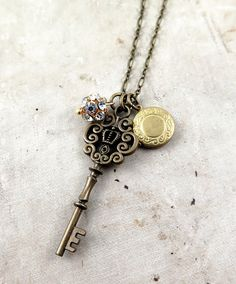 #Skeleton Key #charm necklace #locket  Necklace Antique Skeleton Key Pendant Locket Charm Necklace Vintage Inspired Key Necklace Gift for Her  Antique brass colored