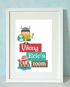 Viking Boy - Personalised Unique Child's or Baby's Art Print - GREAT CHILDREN'S GIFT idea - Unframed