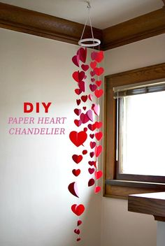 DIY Paper Heart Garland Chandelier - 60 Easy DIY Chandelier Ideas That Will Beautify Your Home - DIY & Crafts