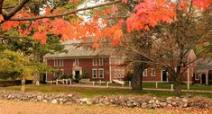 The exterior of the Inn through changing leaves