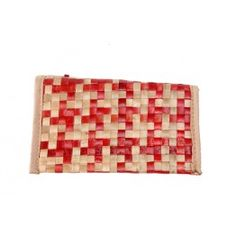 Red And Biege CrissCross Square stitch Cane Wallet