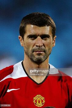 A portrait Roy Keane of Manchester United prior to the the UEFA Champions League Group D match between Olympique Lyonnais and Manchester United at. Roy Keane, Uefa Champions League Groups, Manchester United, Madness, Polo Ralph Lauren, The Unit, Stock Photos, Portrait, Mens Tops