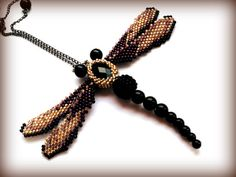 Large dragonfly pendant necklace  gold /black  by DeerestJewelry