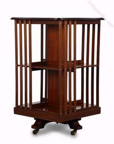 Serpentine Top Inlaid Mahogany Revolving Bookcase - Antiques Atlas