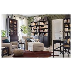 Have a space for you and your partner in the living room. IKEA GRÖNLID armchairs and HAVSTA dark brown cabinets keep your space orderly and uniquely you. Ikea Living Room, Living Room Storage, Storage Spaces, Storage Shelves, Living Rooms, Decoration Inspiration, Room Inspiration, Living Room Furniture Inspiration, Dark Brown Cabinets