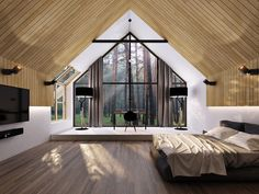 A vast interior of a modern wooden hut with a full view at the surrounding forest. Modern Barn House, Modern House Design, Wooden Hut, A Frame House, Tiny House Cabin, Home Interior Design, Design Case, Interior Architecture, Building A House