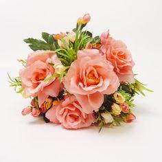 ローズミックスブッシュ(7) サーモン【送料区分:1】|造花や人工観葉植物の通販サイト|インテリアグリーンドットコム
