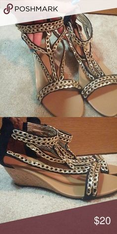 Heeled Dressy Sandals Gold linked chain with ankle band Shoes Sandals