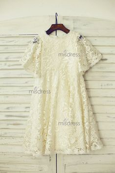 Short Puffy Sleeves Light Champagne Crochet Lace Flower Girl Dress