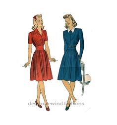 1940s Women's WWII Era Fit & Flare Day DRESS by DesignRewindFashions Vintage to Modern Sewing Patterns, $24.00