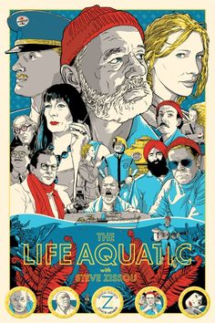 """Mondo poster for Wes Anderson's """" Life aquatic with Steve Zissou"""""""