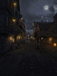 Night Fantasy Village Art