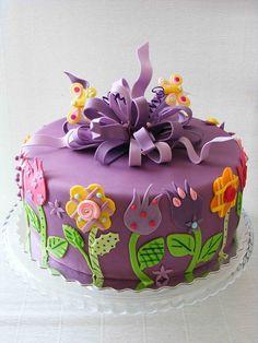 Violet flower cake