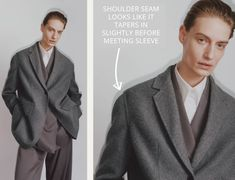 The Pre Fall 2020 collection from The Row featured barely dropped shoulders that were carefully shaped for a soft silhouette. Shoulder Cut, Off The Shoulder, Oversized Jacket, Back Off, Pattern Making, Mens Suits, The Row, Collars, Suit Jacket
