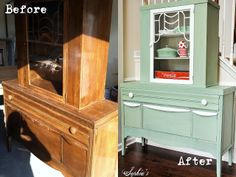 Sophia's: Luckett's Green Milk Paint Cabinet. Love this color!