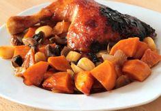 Ragacsos-mázas csirkecomb édesburgonyás körettel Turkey Recipes, Turkey Meals, Menu Planning, Viera, Pot Roast, Poultry, Sweet Potato, Nom Nom, Bacon