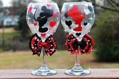 Disney Minnie Mouse Mickey Mouse Glitter Bridesmaid Wedding Bridal Shower Valentine Christmas Seasonal Holiday Wine Glass SET OF 2 on Etsy, $59.99