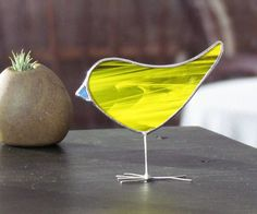 Yellow Stained Glass Bird Suncatcher One of a Kind by SNLCreations