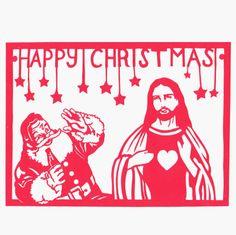 A Hetty and Baar Happy Christmas!  Paper cut card or print.  www.hettyandbaar.weebly.com www.facebook.com/heetandbaar