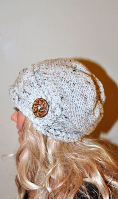 Women Hat Slouchy Hat Slouch Beanie Button Hat Hand Knit Winter AdultHat CHOOSE COLOR Wheat White Chunky Gift