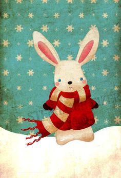 Items similar to Winter Bunny Print on Etsy