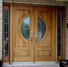 Our Cedar-made double door entry combined with beautiful half circle vented lites and sidelites make for a luxurious feel.Specs: Completely customized, using solid wood No veneers or fillers. Wooden Double Doors, Wooden Front Door Design, Double Door Design, Wooden Front Doors, Home Door Design, Bedroom Door Design, Door Design Interior, Double Doors Exterior, Double Entry Doors