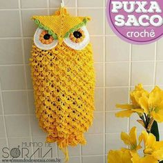 For Beginners Gifts Ideas For Crochet Bag Holder Owl Crochet Home Decor, Crochet Crafts, Crochet Projects, Baby Blanket Crochet, Crochet Baby, Cat Crochet, Plastic Bag Crochet, Crocheted Bags, Crochet Towel Topper