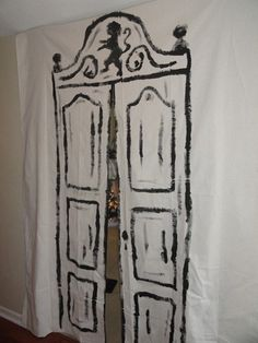 Door to Narnia painted drop cloth canvas - Narnia birthday party