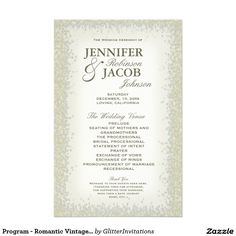 Program - Romantic Vintage Gold and Silver Glitter Flyer