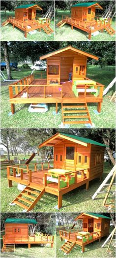 We love to collect the ideas with which the kids can be made happy and here we are going to show one of those ideas have a look at the repurposed wood pallet kids patio playhouse and copy it if you have enough space on your patio.