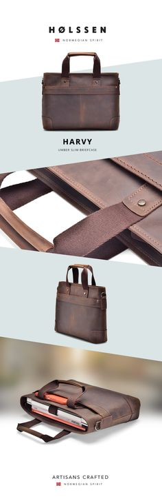 Holssen Harvey Briefcase, handcrafted with top grain leather, is a handsome yet functional briefcase that can complement anyone's effortless style.