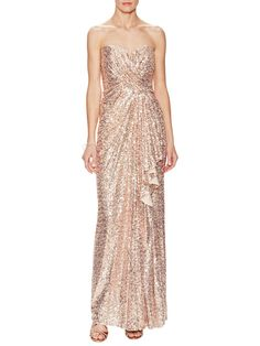Sequin Strapless Gown