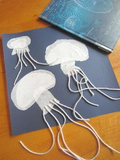Jelly fish. Wouldn't use a pattern to cut, instead tear up tissue paper to overlap and create the shape.