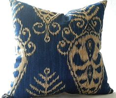 Ikat  Pillow cover,  Sapphire Navy 18x18 pillow cover. $35.00, via Etsy.