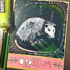 My husband has been suggesting opossum every day for this project, so today I finally obliged! Opossum. Everything is not always as it seems. Diversion and strategy are the name of the game. Rising to the top without being noticed. Using your brain instead of your claws and teeth to get where you want to go. Use your instincts. Expect the unexpected! #dailyanimalart #opossum #animaltotem #animalmedicine #paintingaday