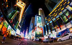Wall mural wallpaper New York Times Square by night NYC photo