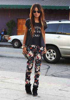 Cute floral skinnies, sneaker wedges and a loose tee.