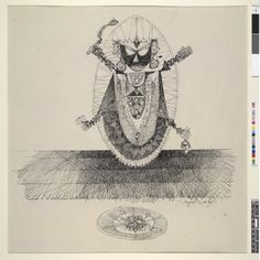 Pen and ink drawing on paper of the goddess Kali.  She is shown four armed and with an offering plate in front of her.  Signed and dated.  Framed and glazed.