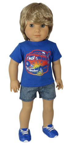 American Girl Boy Doll Clothes Outfit - Silly Monkey - Blue Surf Van Tee and Denim Shorts - OOAK, $18.00 (http://www.silly-monkey.com/products/blue-surf-van-tee-and-denim-shorts-ooak.html)