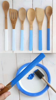 Paint wooden spoon handles in different shades to make an ombr� set.