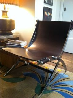 2 x Mid Century Style Chrome Leather Chair - $430