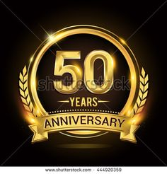 Celebrating 50 years anniversary logo with golden ring and ribbon, laurel wreath vector design.